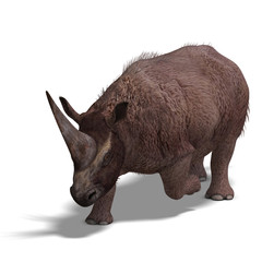 Dinosaur Elasmotherium. .3D rendering with clipping path and sha