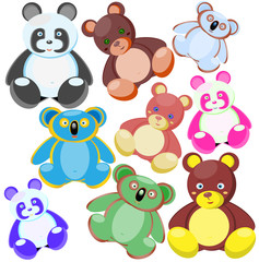 Multi-coloured toys-bears