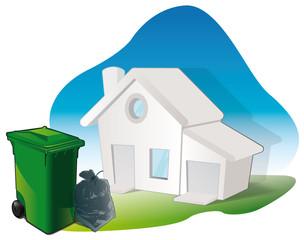 les poubelles / déchets des foyers / habitations