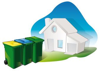 le tri sélectif des déchets dans les foyers / habitations