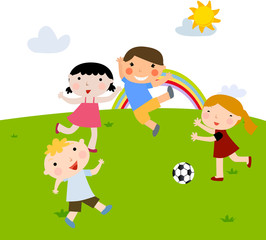 Summer kids playing football