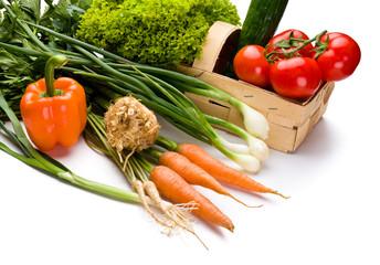 Fresh organic vegetables isolated on white