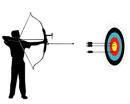 Sports marksman from onions on a target