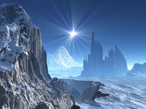 Lone Star Over Alien World in Winter