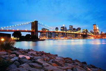 Wall Mural - Brooklyn Bridge and Manhattan skyline in New York City