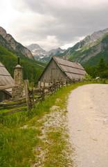 alpine village with path