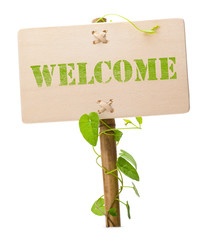 Welcome green message on a wooden panel - background