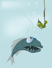 Hungry fish and clever worm. A fairy tale of my mum