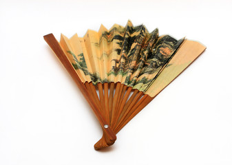 Chinese paper fans on a white background