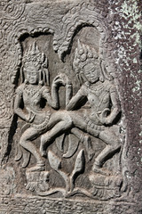 Apsaras - bas-relief in Angkor area