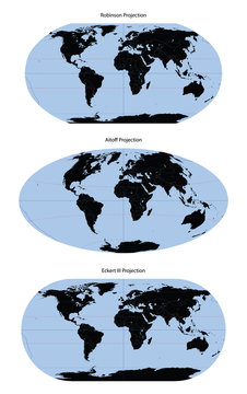 World map vector different projection