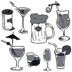 alcohol grass set (hand drawing)
