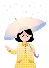 Fillette sous un parapluie