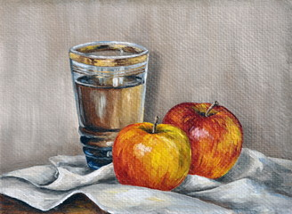 Oil paints, apples and juice