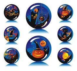 Magic spheres with symbols Halloween