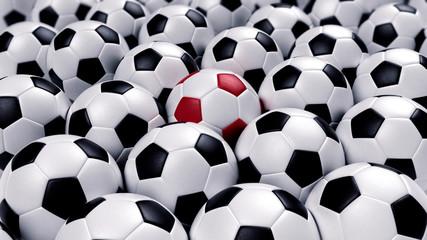 group of soccer balls
