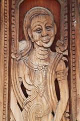 art on door of temple, Wat Nong Sim Noi, Borabue