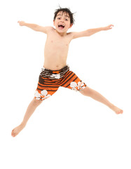 Boy in Swim Suit Jumping