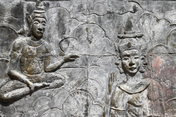 art on wall of temple, Wat Nong Sim Noi, Borabue