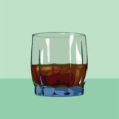 Blue glass with whiskey