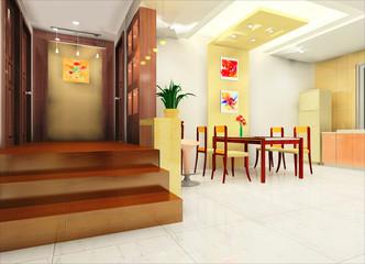 a modern kitchen and corridor