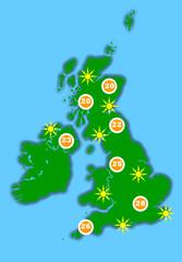 Hot UK weather map