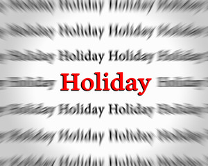 Word holiday isolated on white background