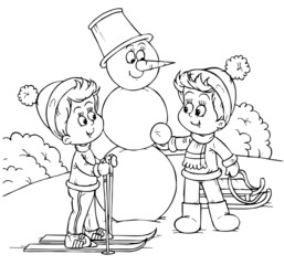 skiing boy and his friend building a snowman