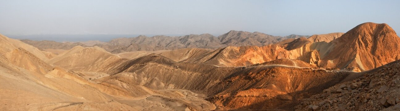 Desert landscape panorama at sunset