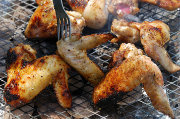 Chicken wings barbecue on grill
