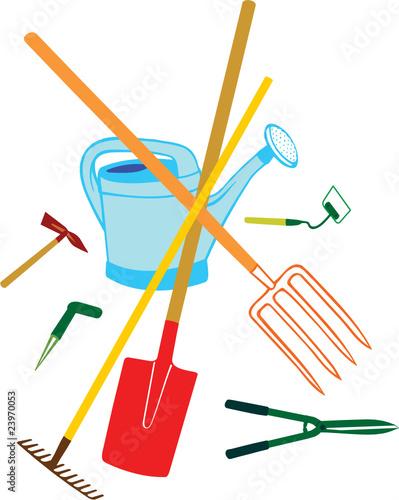 Jardinage et ses outils fichier vectoriel libre de for Dessin outils jardinage