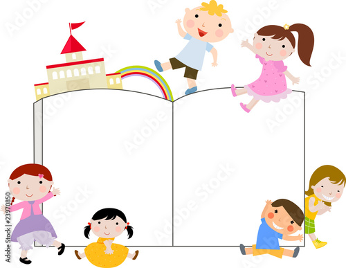 """""""kids and book,frame"""" Stock image and royalty-free vector ..."""