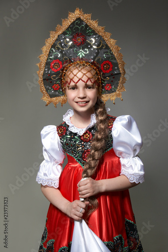 quota little girl in the russian national costumequot stock