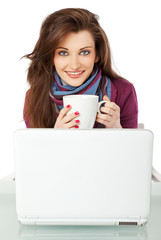 Girl cup smiling laptop