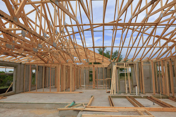 Block wall and Trusses New Home Construction
