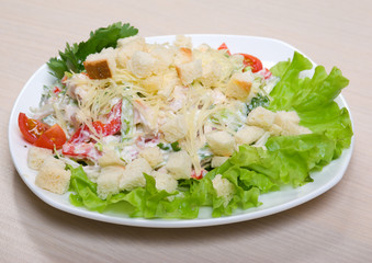 vegetable salad from tomato and zwieback