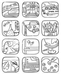 Doodle school icons set, vector illustration