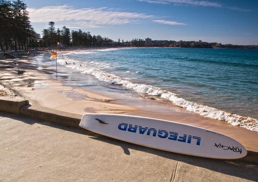 Lifeguard rescue surfboard on Manly Beach, Australia