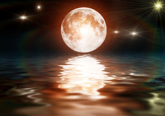 Bright moon on dark water