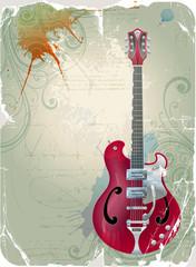 Guitar on grunge background