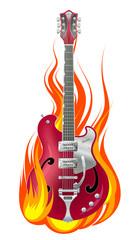 Guitar in fire