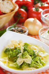 Broccoli and noodle soup