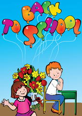 Back to school. Girl and boy with flowers in the school.