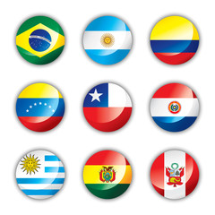 Glossy button flags - South America