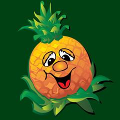 Lively  pineapple. Vector art-illustration.