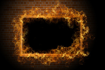 Empty frame with fire