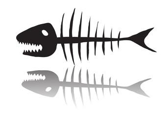 Vector illustration of black skeleton of fish