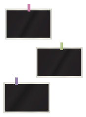 Set of the photos hanging on a white background