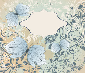 grunge floral background with butterfly