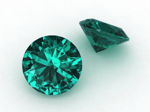 Pair of two round aquamarine gemstones